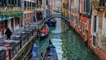 gondolas in Venice canal Italy