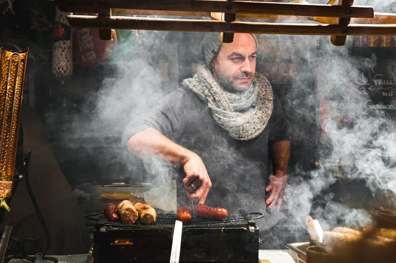 Angers France christmas market sausages