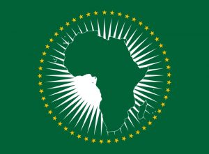 AU logo on the flag of the African Union