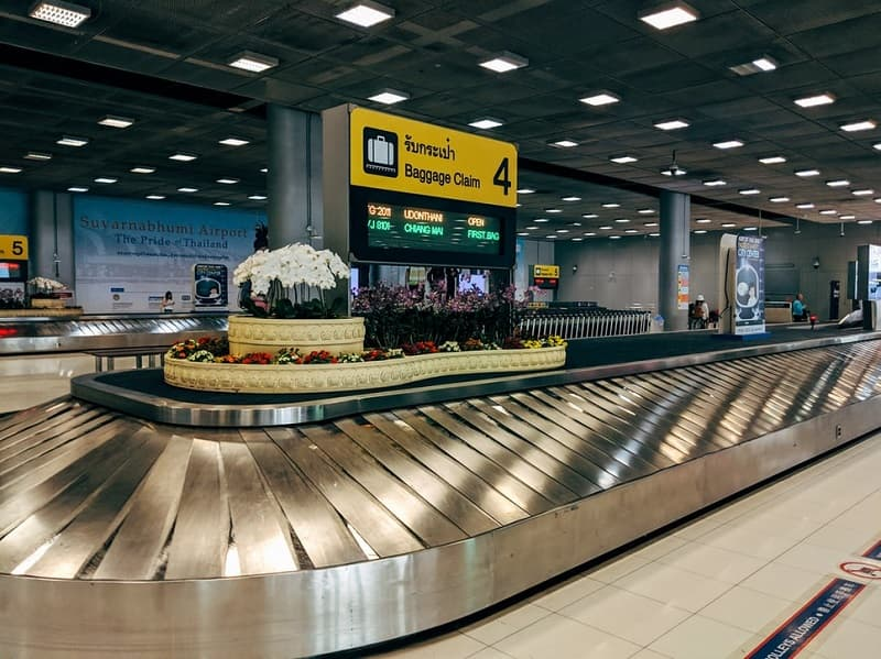 a baggage carousel reclaim area at Bangkok Airport in Thailand